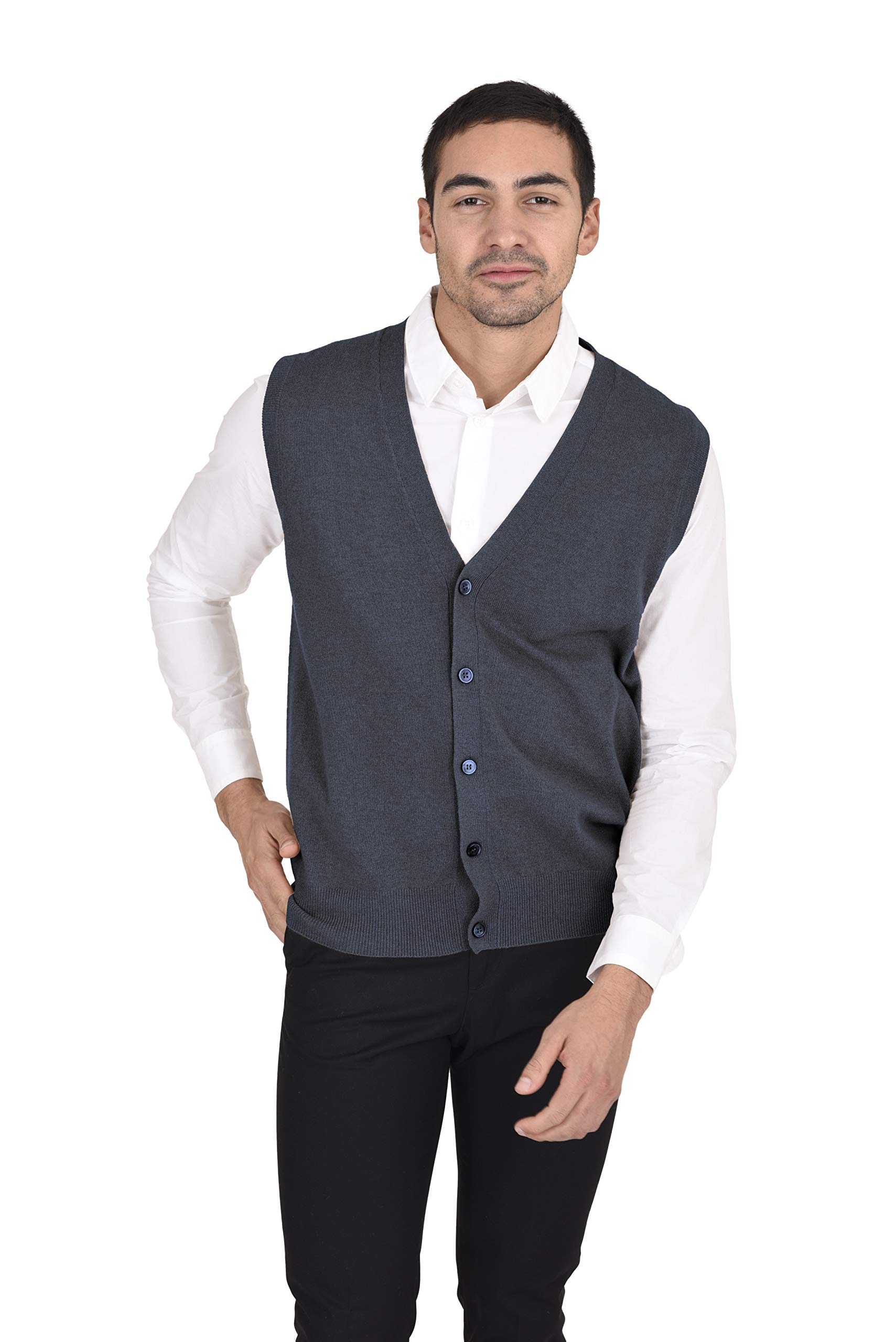 State Cashmere Men's Classic Jersey Knit Button Down Vest 100% Pure Cashmere V-Neck Style Cardigan (Small,Charcoal) by State Cashmere