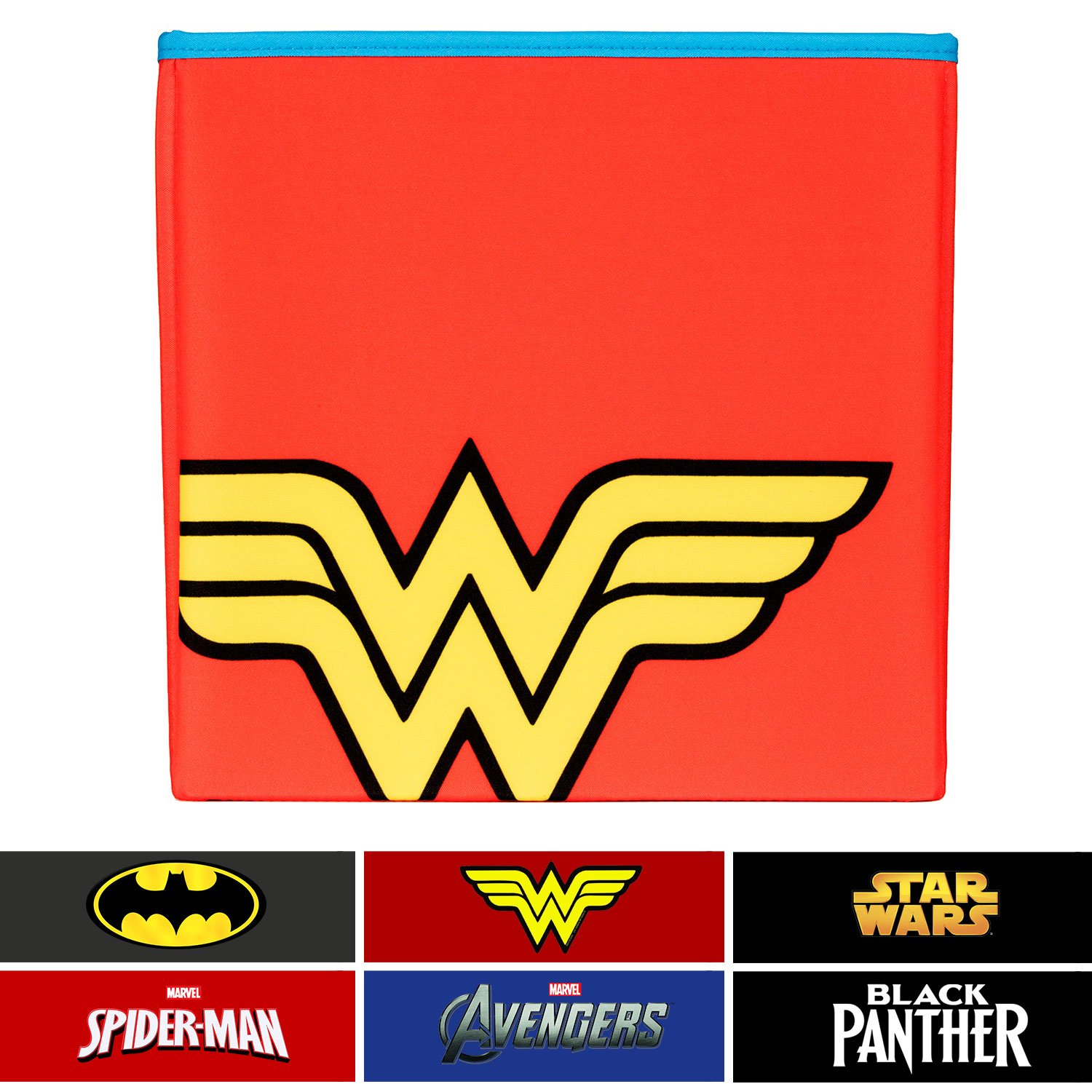 Everything Mary Wonder Woman Collapsible Storage Bin by DC Comics - Cube Organizer for Closet, Kids Bedroom Box, Playroom Chest - Foldable Home Decor Basket Container with Strong Handles and Design by Everything Mary