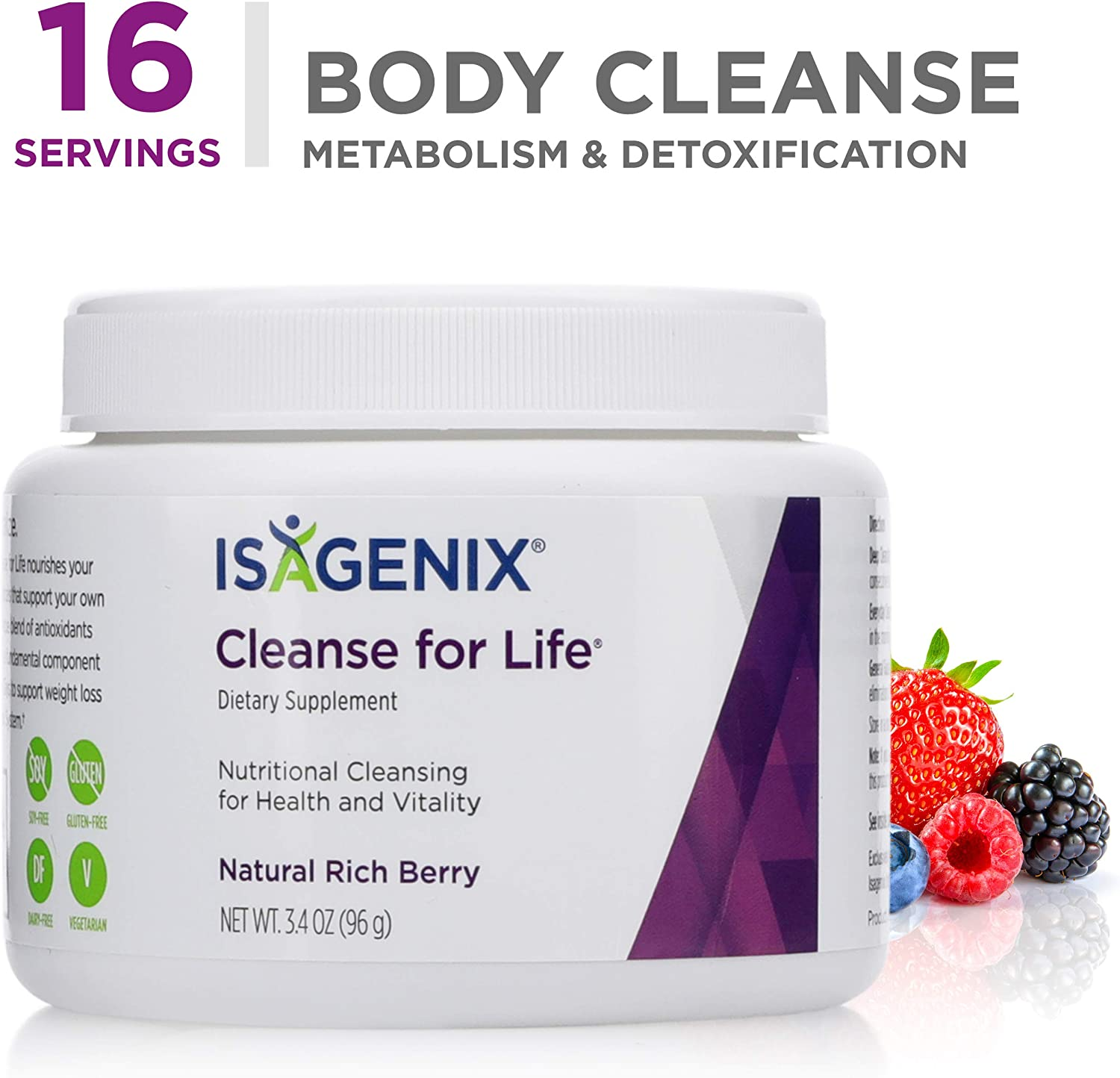 Cleanse for Life – Natural Rich Berry Flavor Powder – 96 g 3.4 Ounce Canister