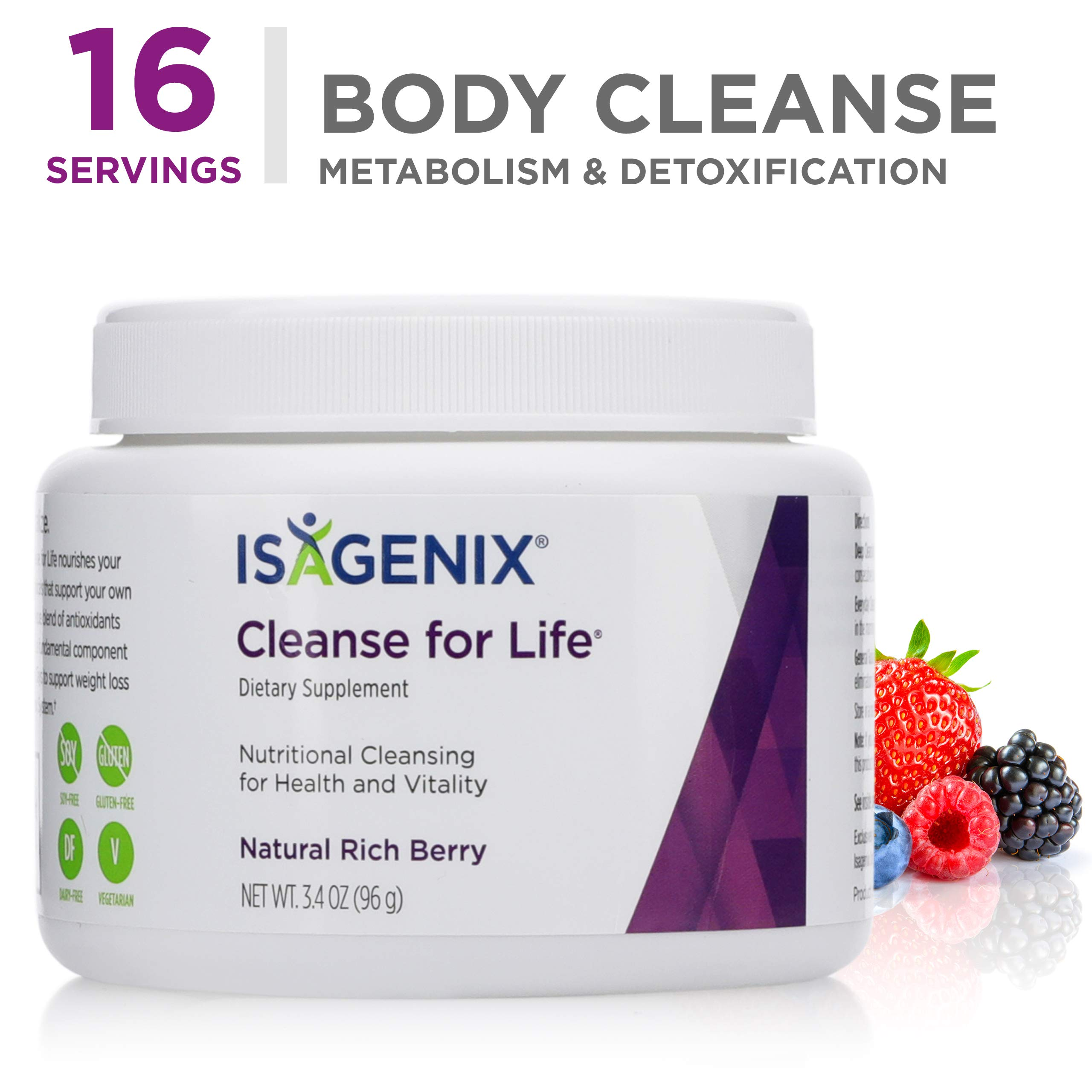 Cleanse for Life® - Natural Rich Berry Flavor Powder - 96 g (3.4 Ounce) Canister by Isagenix
