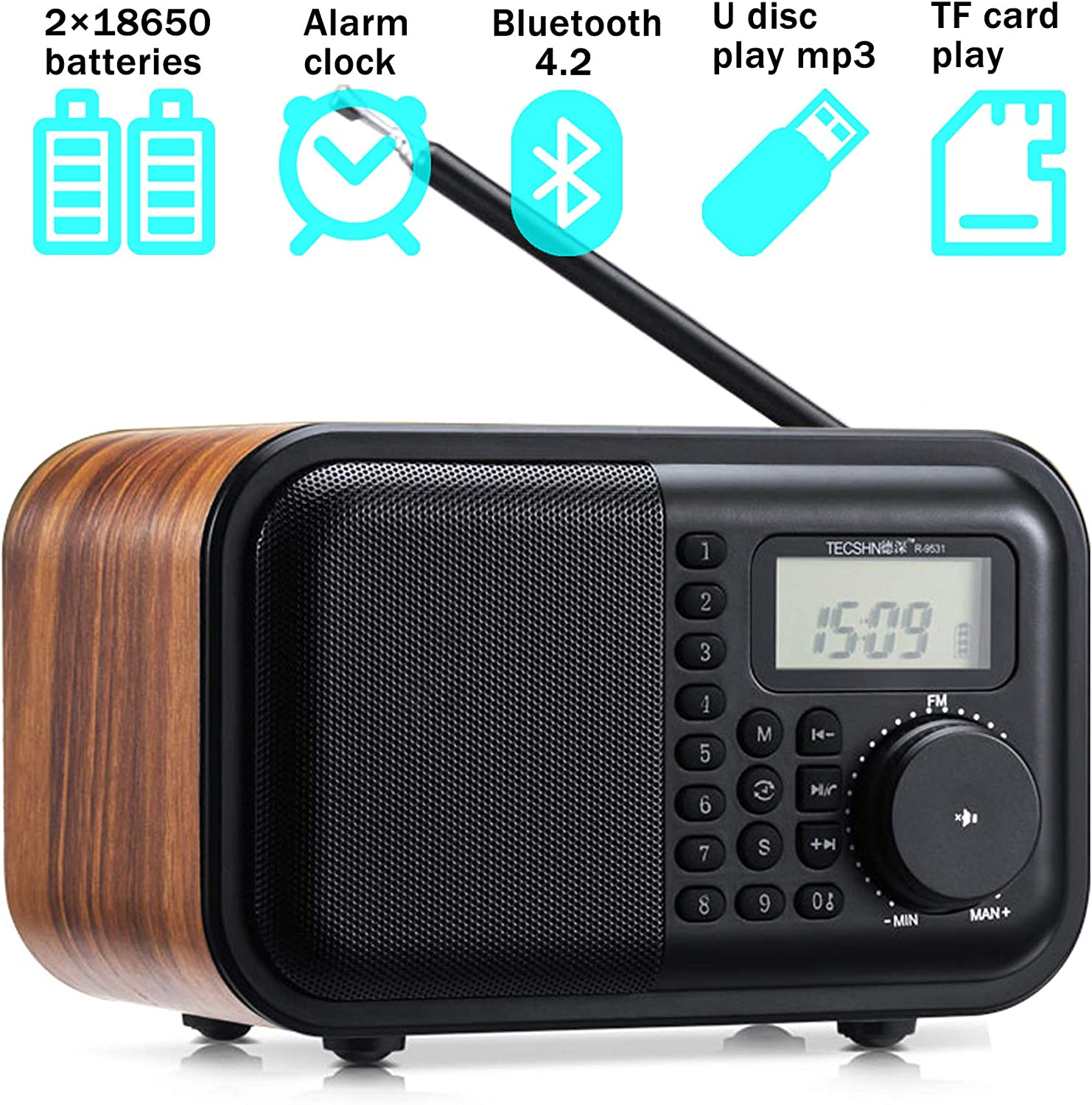 Versatile Retro Wood Grain Bluetooth Speaker FM Radio with Front Keyboard and Digital Display - Alarm Clock、Rotary Dial、Bluetooth 4.2 Speaker、USB Port、TF Card Slot、Aux-in Jack、2×18650 Batteries