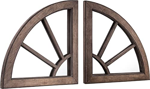 American Art Decor Rustic Wood Cathedral Arched Style Accent Wall Vanity Mirrors Set of 2 – 24.5 H x 24.5 L x 1.5 D