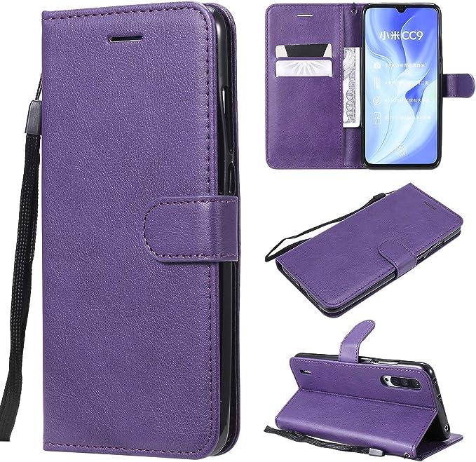 YYhin Cubierta para Funda Xiaomi CC9 / Xiaomi Mi A3 Pro, Caja de Cuero del teléfono de la PU, Cubierta de la Cartera, Cubierta del Soporte del Caso del tirón(CS02-Púrpura): Amazon.es: Electrónica