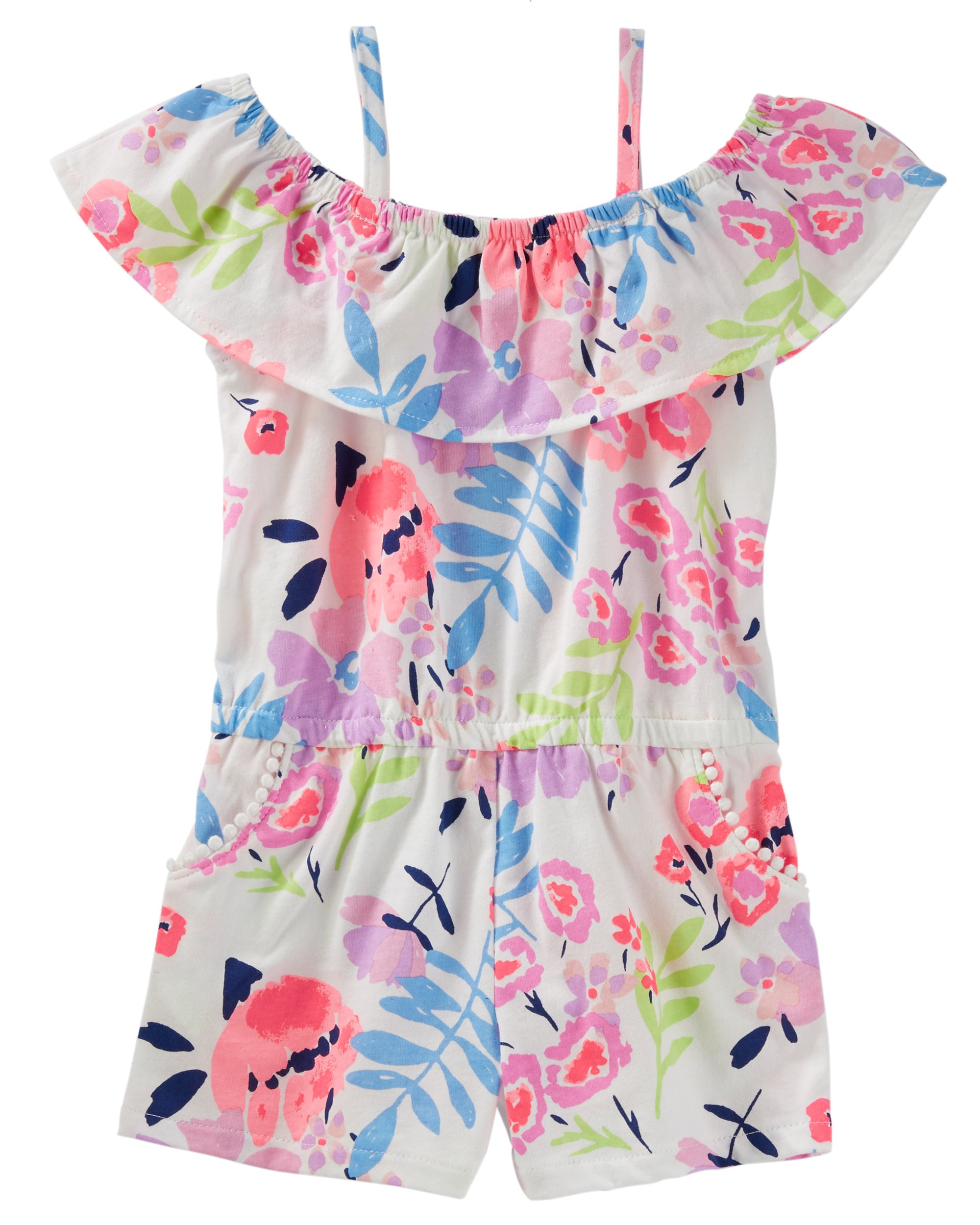 Osh Kosh Girls' Toddler Sleeveless Romper, Tropical, 4T