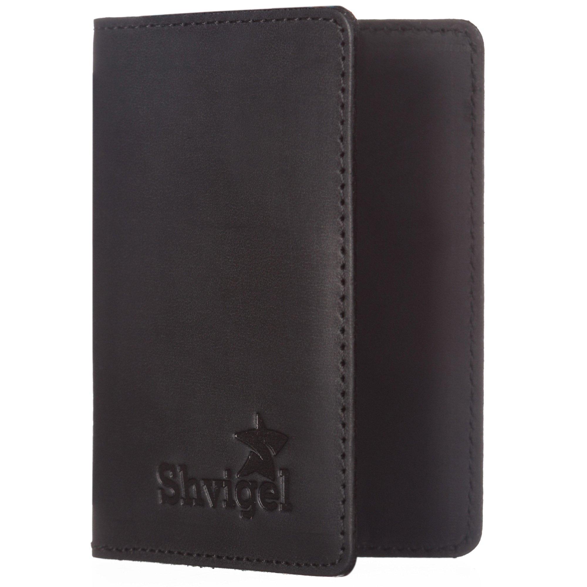 Shvigel Leather Credit Card Holder - for Men & Women - Minimalist Slim Wallet - Small Front Pocket Case (Black Vintage)