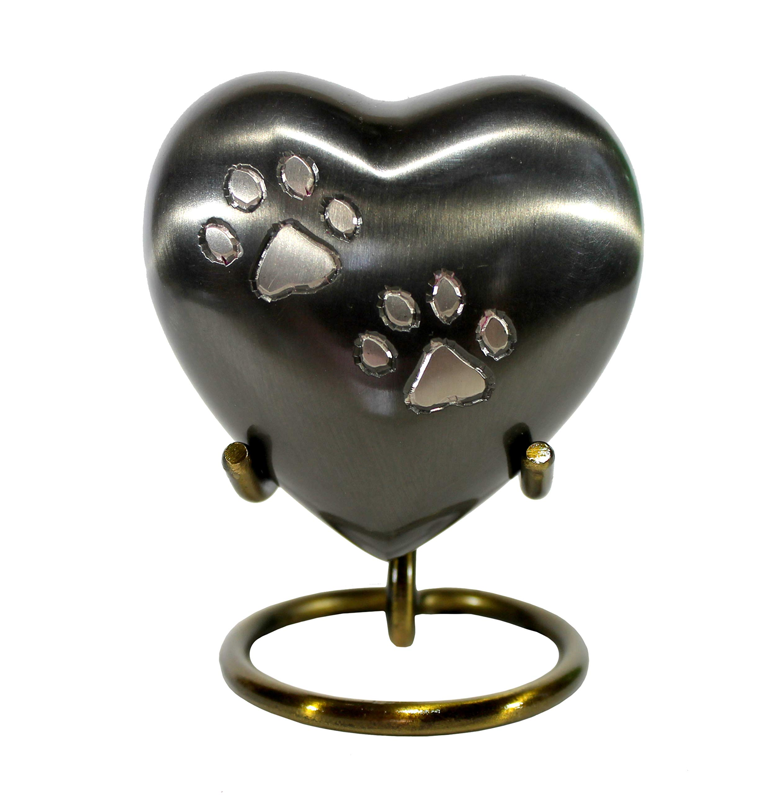 RecoveryChip Paw Print Heart Shaped 3'' Pet Keepsake Urn with Stand and Always Remembered Forever Loved Memorial Dog Medallion by RecoveryChip