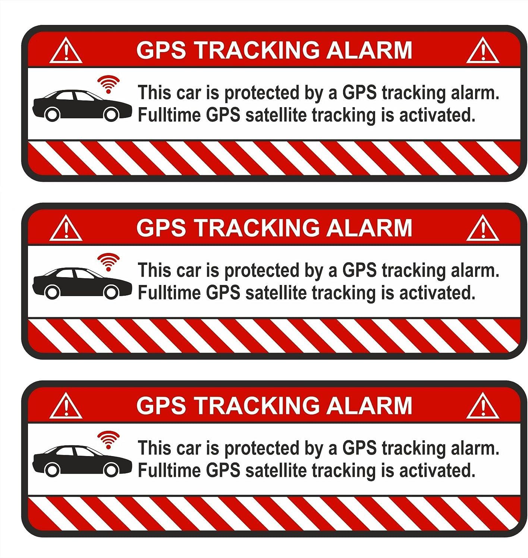 Finest Folia 3x Gps Aufkleber Fahrrad Motorrad Auto Alarm Warnung Anti Diebstahl Sticker Tracker Gesichert R054 Weiß Auto Auto