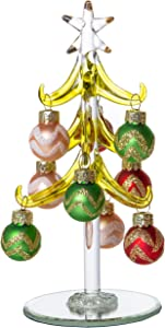 Mini Glass Christmas Tree, Small Table Top Holiday Season Décor with Removable Sphere Ornaments, Multicolor Silver & Gold Striped, 6 Inches