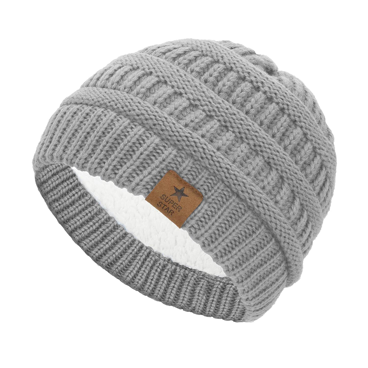 Amazon.com  Durio Soft Infant Toddler Winter Warm Thick Hat Knitted Fleece  Lined Baby Beanies for Boys Girls Winter Babies Caps 1 Pack Beige  Clothing 66e5d517e81