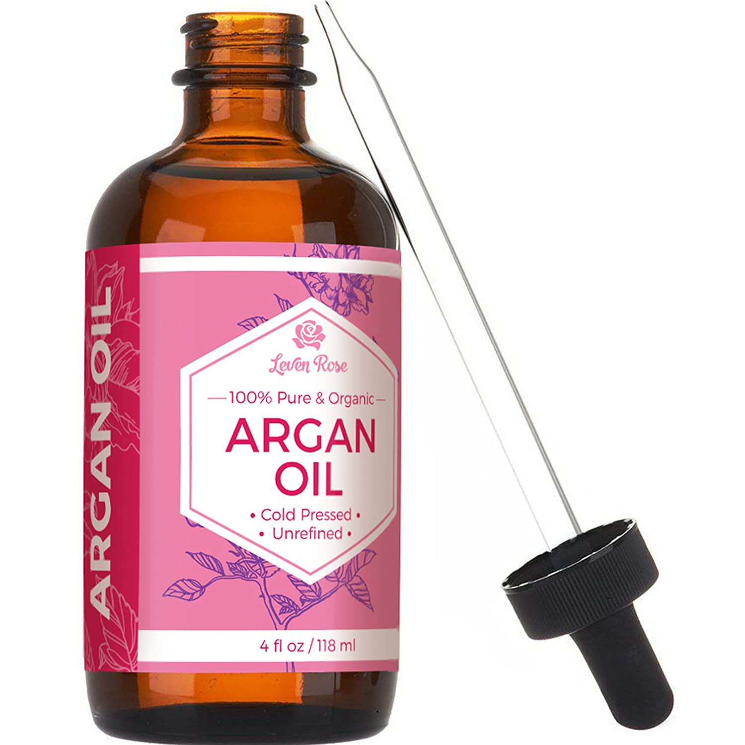 Argan Oil by Leven Rose - 100% Pure Organic Virgin Cold Pressed Moroccan Anti Aging Acne Treatment Moisturizer for Hair Skin and Nails - 118 ml LR
