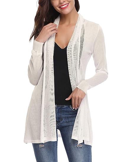 Abollria Veste Longue Gilet Femme Leger Crochet Été Cardigan Long Femme Lin  Manches Longues Outwear Femme 185e0e5611c6