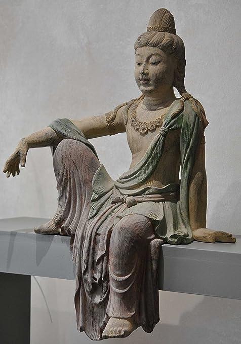 65 cm Guanyin Göttin der Barmherzigkeit Figur Kantenhocker