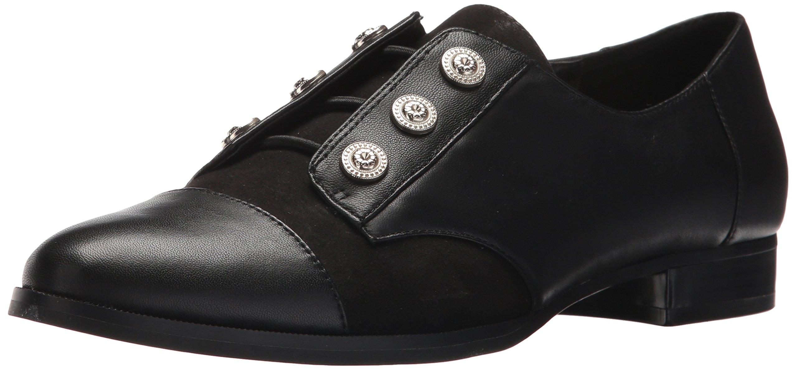 Nine West Women's Here Leather Uniform Dress Shoe, Black/Multi Leather, 7.5 M US