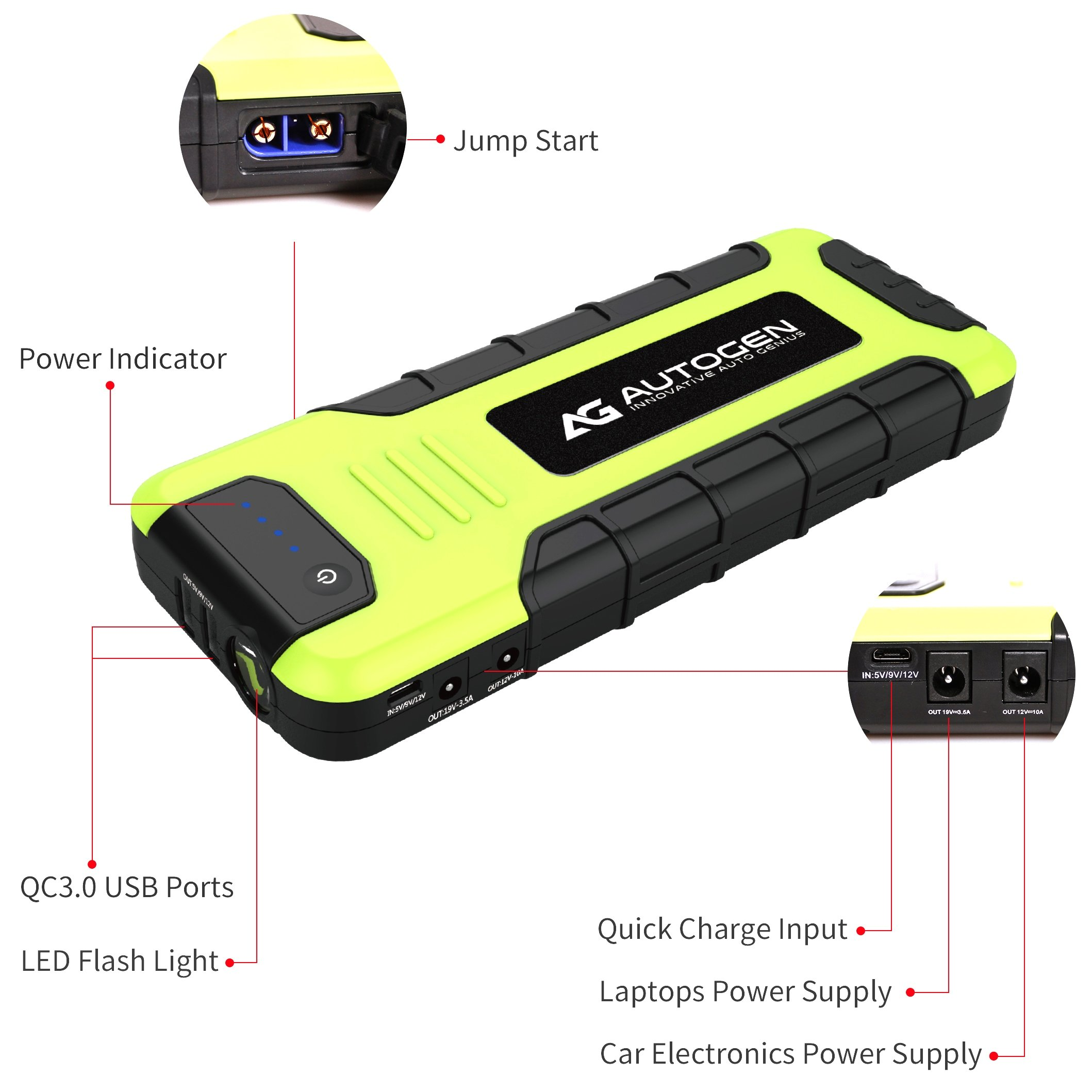 AUTOGEN 2000A Peak Portable Jump Starter for Vehicles (up to 8.0L Gas or 6.5L Diesel) & Quick Charge 3.0 Power Charger, with Mistake-Proof Intelligent Clamps for Cars Boats RVs & Mowers by AUTOGEN (Image #4)