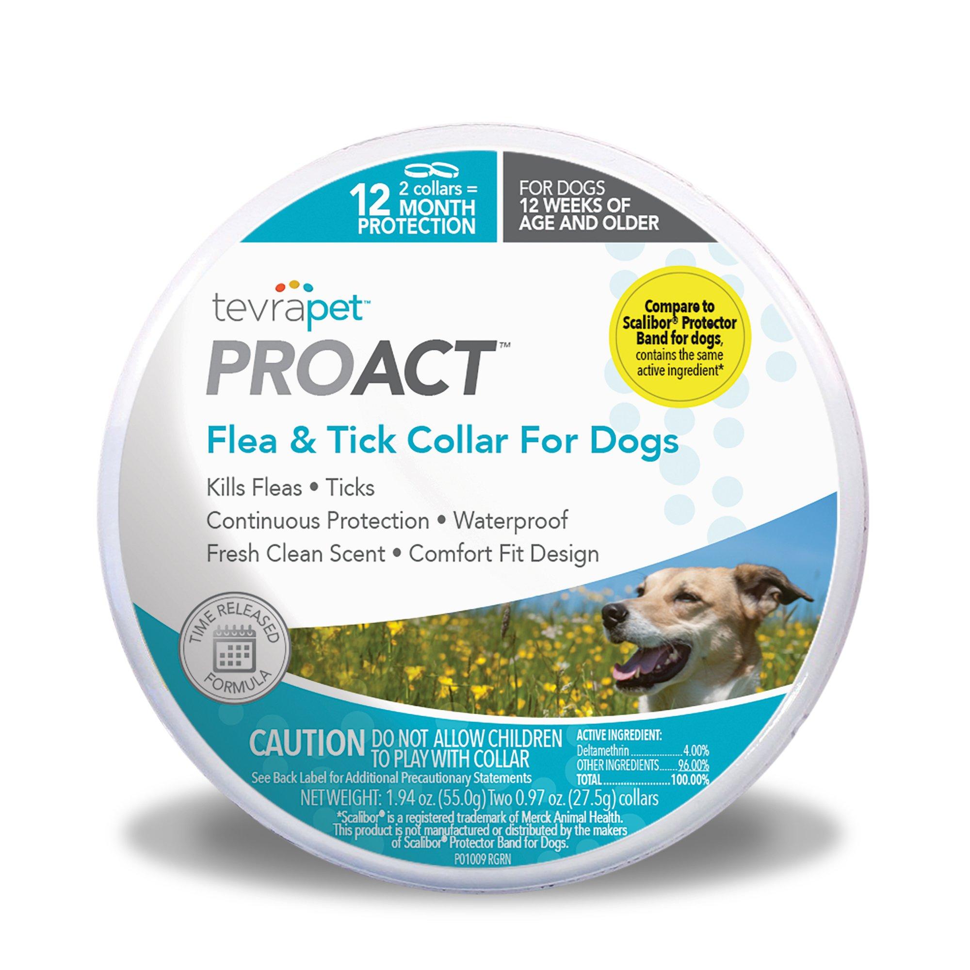 TevraPet ProAct Flea & Tick Collar for Dogs. 12 Months of Flea & Tick Protection. Waterproof Flea Collar for Dogs.