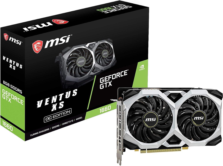 MSI Gaming GeForce GTX 1660 192-Bit HDMI/DP 6GB GDRR5 HDCP Support DirectX 12 Dual Fan VR Ready OC Graphics Card (GTX 1660 VENTUS XS 6G OC) (Renewed)