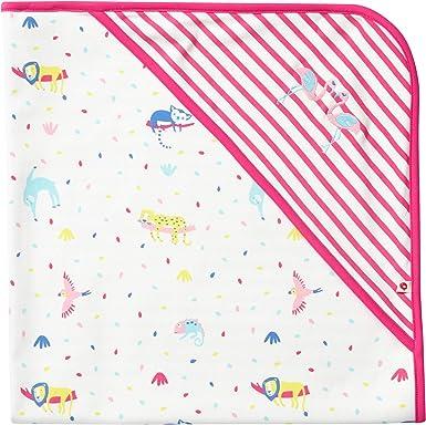 Piccalilly - Manta con capucha para bebé (algodón orgánico, 75 x 75 cm), diseño de rayas, color rosa: Amazon.es: Ropa y accesorios