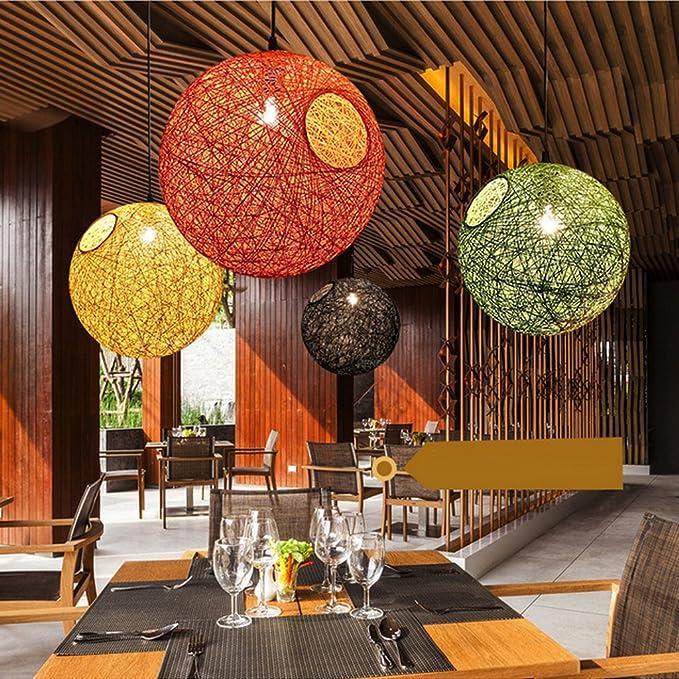 MagiDeal Abat-jour Suspension avec Ligne en Fer//Bois D/écoration pour Maison Art D/écor Orange