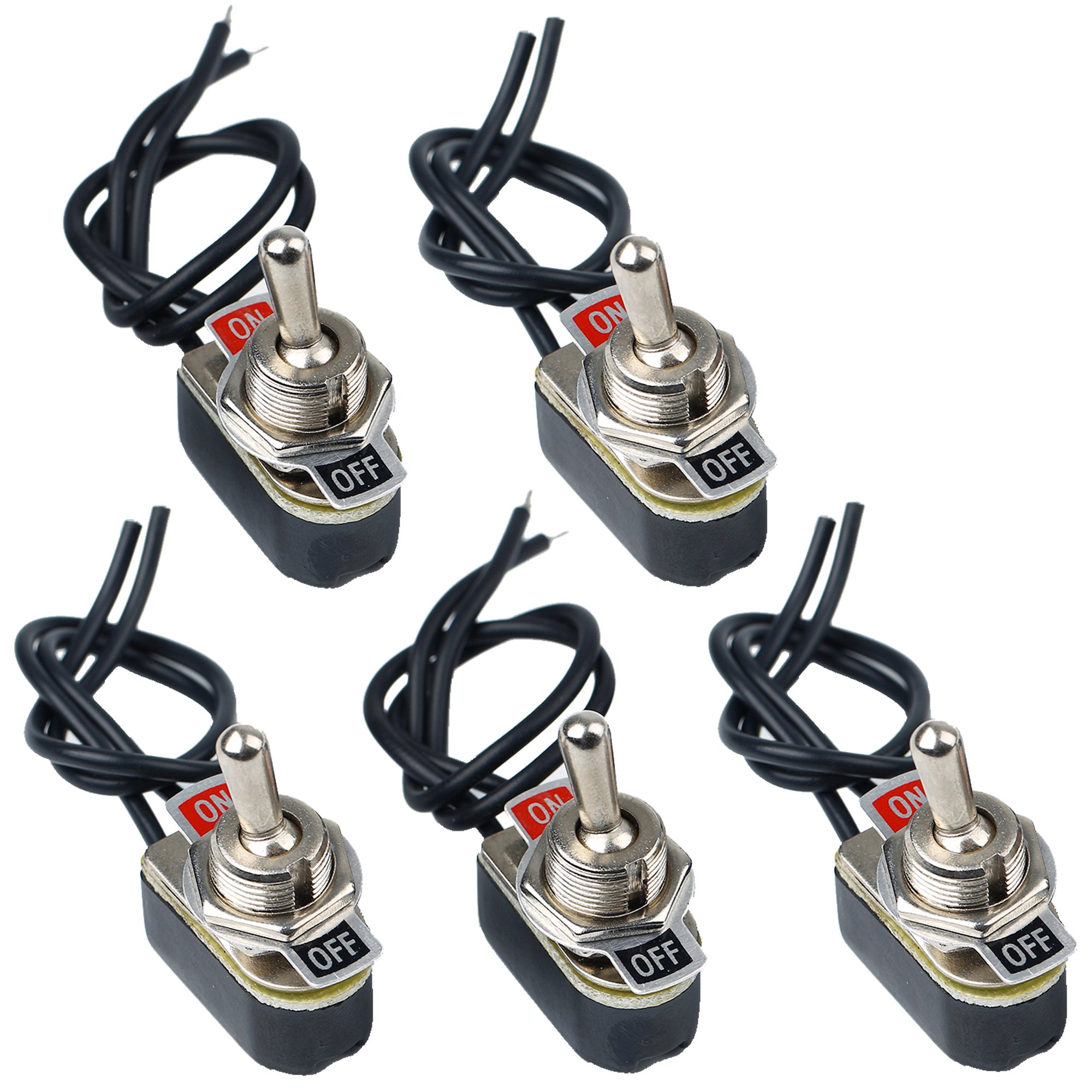 AIU TOP SPST 2Pin On-Off Toggle Switch with 6 Inch Leads, Perfect for Industrial Equipment Emergency Lighting Pack of 5