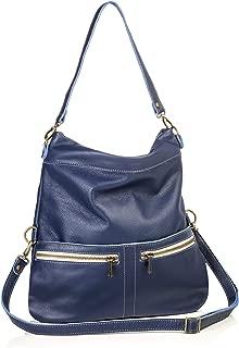 product image for Blue Italian Leather Medium Convertible Foldover Crossbody