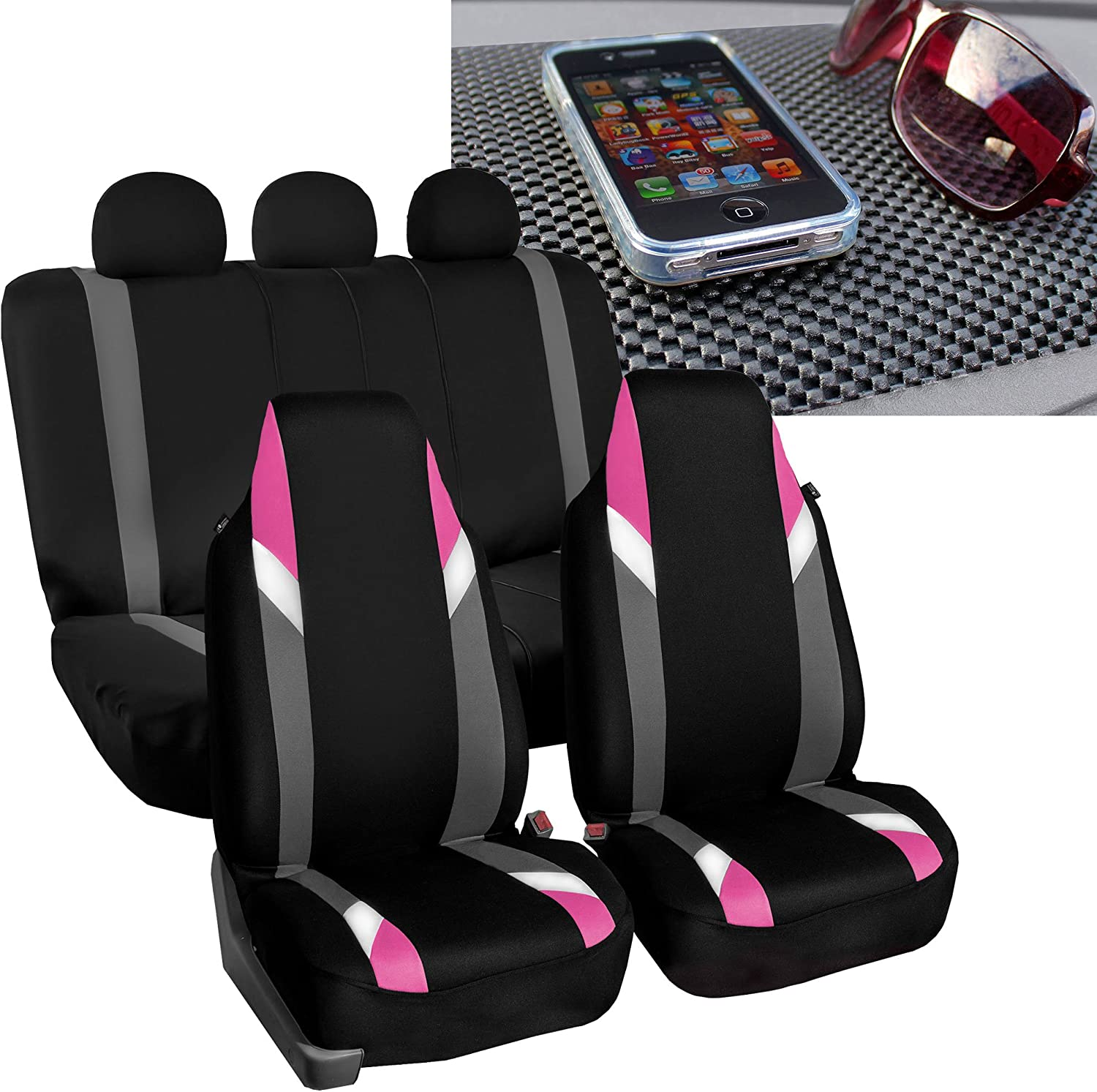 FH Group FB133115 Full Set Premium Modernistic Seat Covers Pink/Black with FH1002 Non-Slip Dash Pad- Fit Most Car, Truck, SUV, or Van