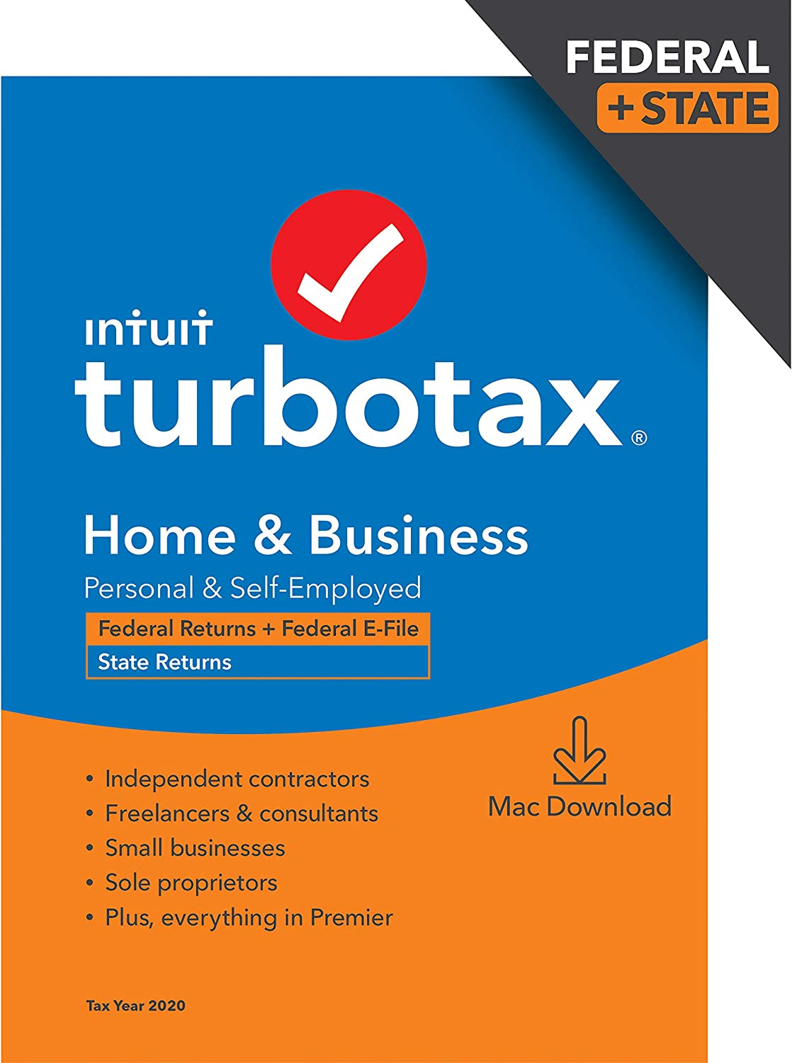 TurboTax Home & Business 2020 Desktop Tax Software, Federal and State Returns + Federal E-file (State E-file Additional) [Amazon Exclusive] [MAC Download]