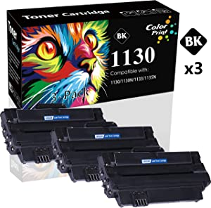(3-Pack, Black) Compatible Dell 330-9523 7H53W Toner Cartridge 1130 Used for Dell 1130n 1135n 1133 Printer, by ColorPrint