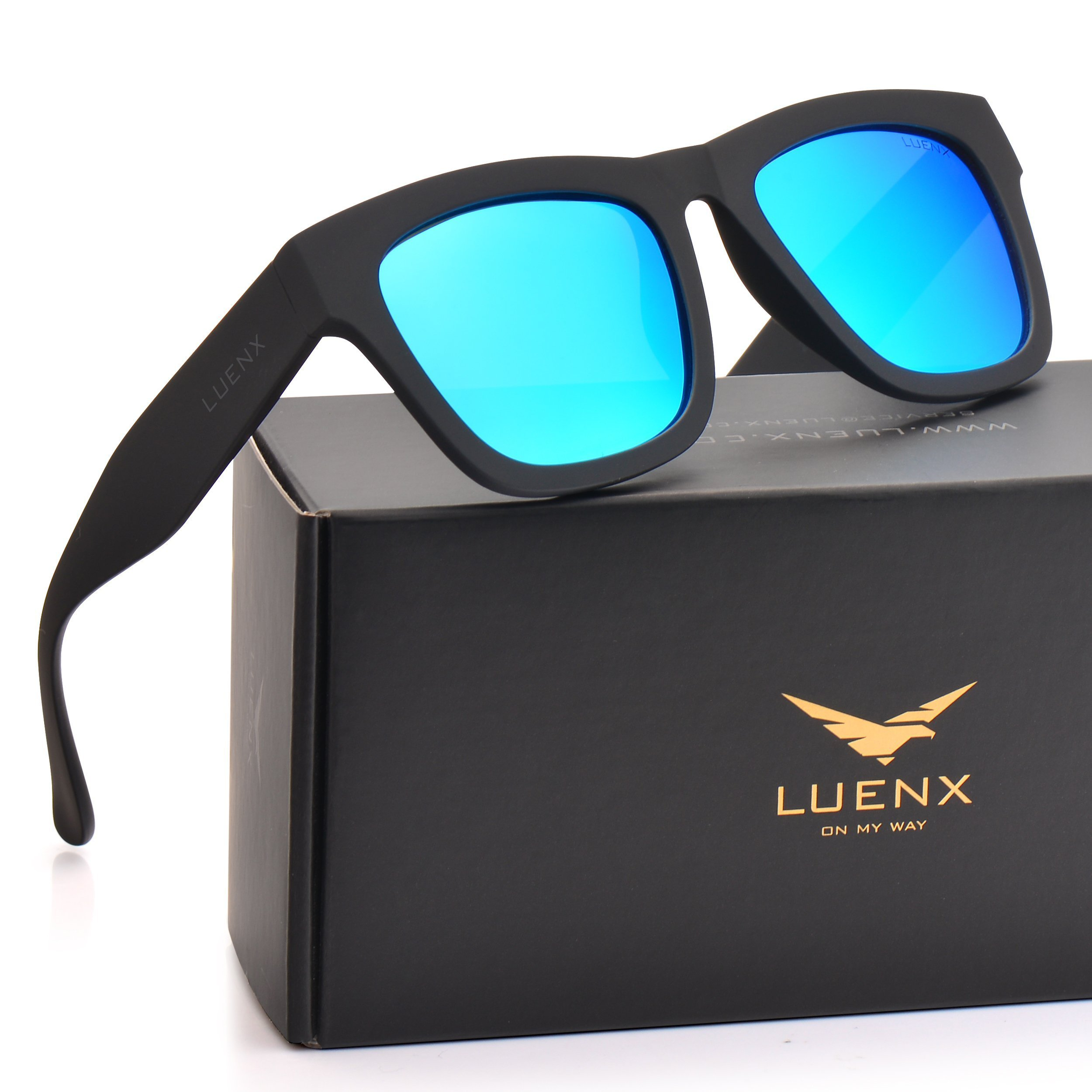 Mens Wayfarer Polarized Sunglasses UV 400 Protection Mirror Blue Lens Black Frame 58MM,by LUENX with Case by LUENX