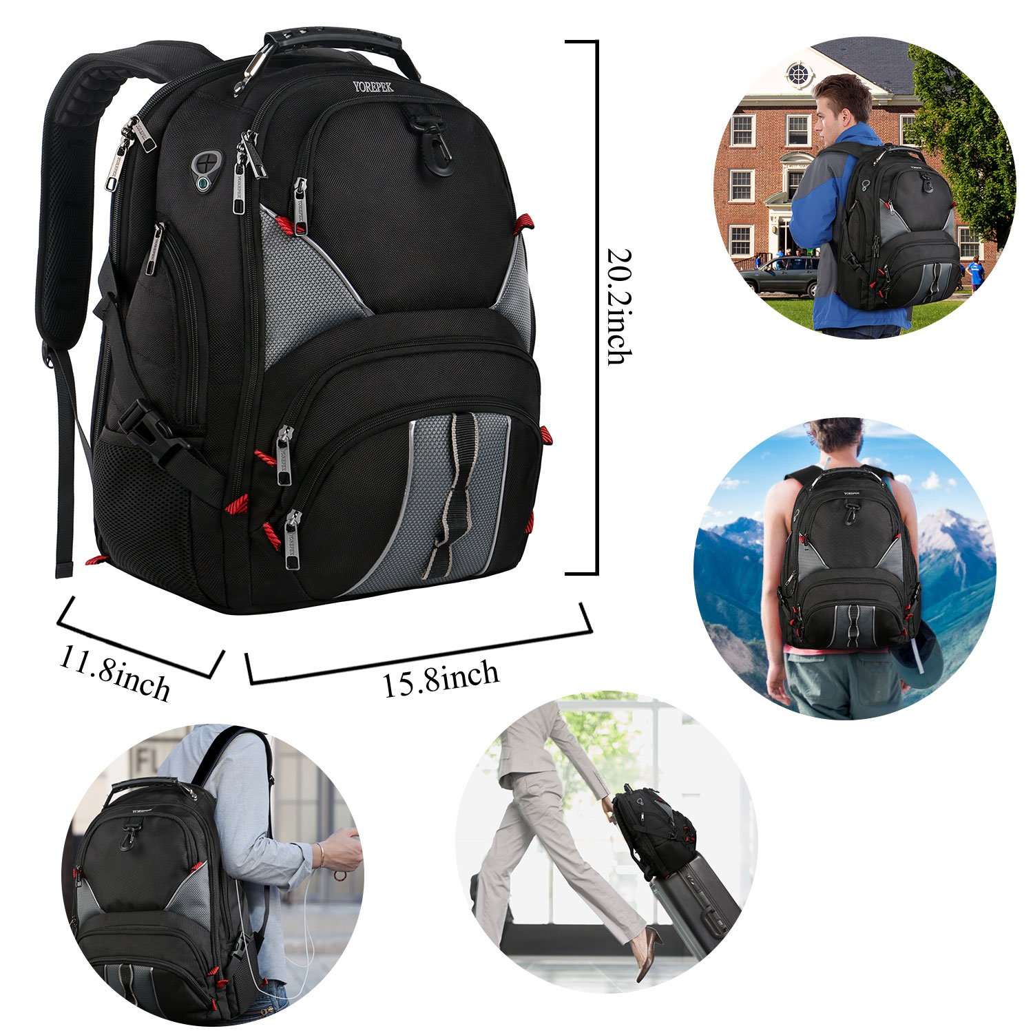 17 inch Laptop Backpack,Large Travel Backpack,TSA Friendly Durable Computer Bagpack with Luggage Sleeve for Men Women, Water Resistant Business College School Bag with USB Charger Port, Black by YOREPEK (Image #7)