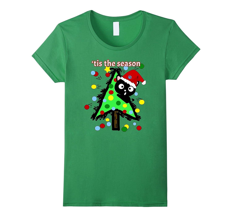 Tis The Season Naughty Cats Trees Ugly Funny Holiday Shirt