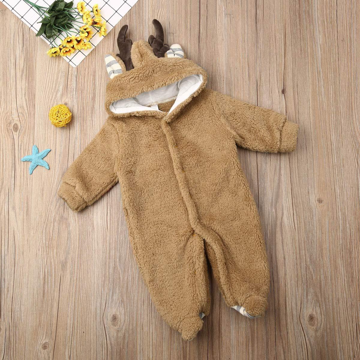Ukrian Ropa de Navidad para beb/é ni/ña ni/ño Traje de Nieve Abrigos Cuernos Body Invierno c/álido Forro Polar con Capucha Mono Trajes