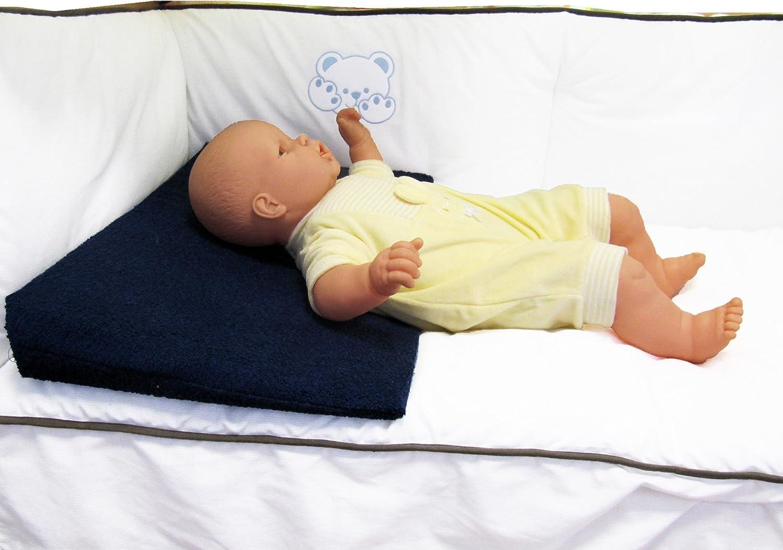 Plan inclin/é en tissu /éponge Marine d/éhoussable pour lit b/éb/é