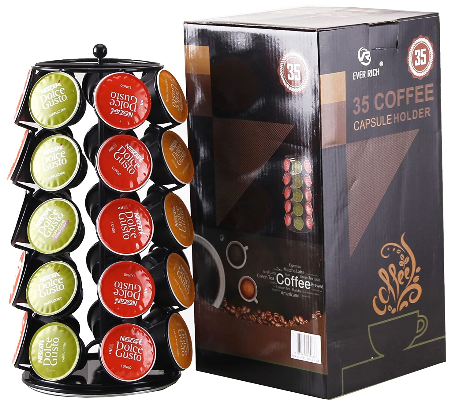 DOLCE GUSTO 24 / 32 COFFEE POD ROTATING HOLDER RACK, CAPSULE STAND,24 EVER RICH