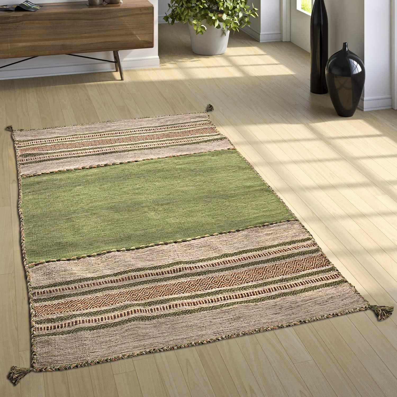 Paco Home Alfombra Diseño Kilim Tejida A Mano 100 % Algodón Moderna Estampada Verde, tamaño:60x110 cm: Amazon.es: Hogar