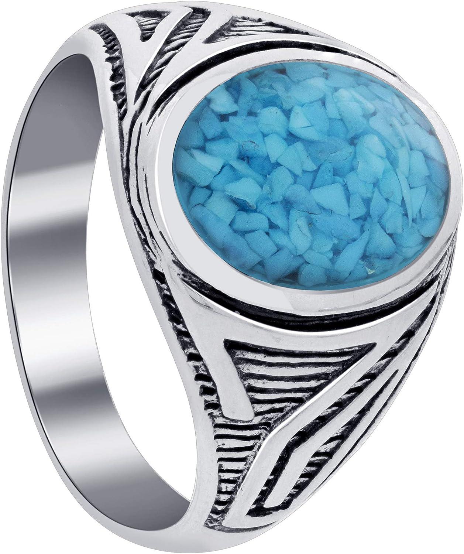 Men's Turquoise Gemstone Antique Design Sterling Silver Ring