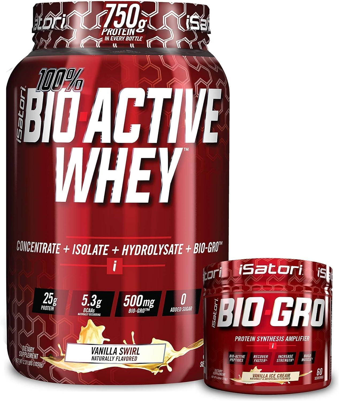 iSatori Bio-GRO Vanilla Ice Cream (60 Servings) & Bio-Active Whey Protein Powder Vanilla Swirl (30 Servings)