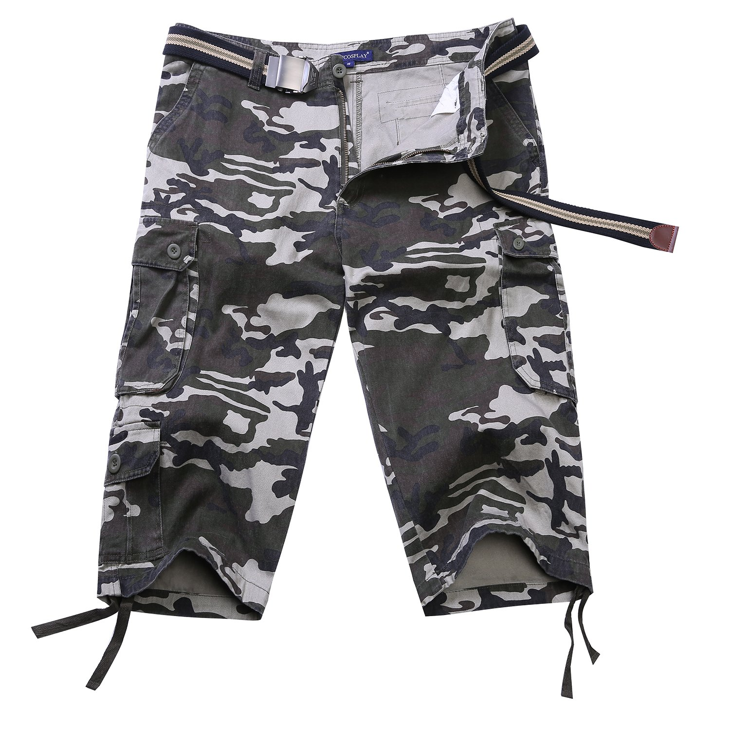 Men Loose Fit Twill Camo Cargo Shorts Cougar Multi-Pockets Outdoors Pant (38, Khaki Camo)
