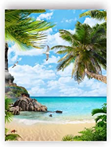 Romantic Beach Art Poster, Leaf Wall Art, Nature Wall Decor,Coconut Palm Coast Art Prints, Sea view art Decor, living room bedroom home wall Decor - No Frame,16