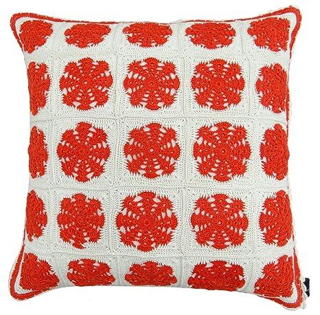Crochet Floral decorativo funda de almohada de algodón ...