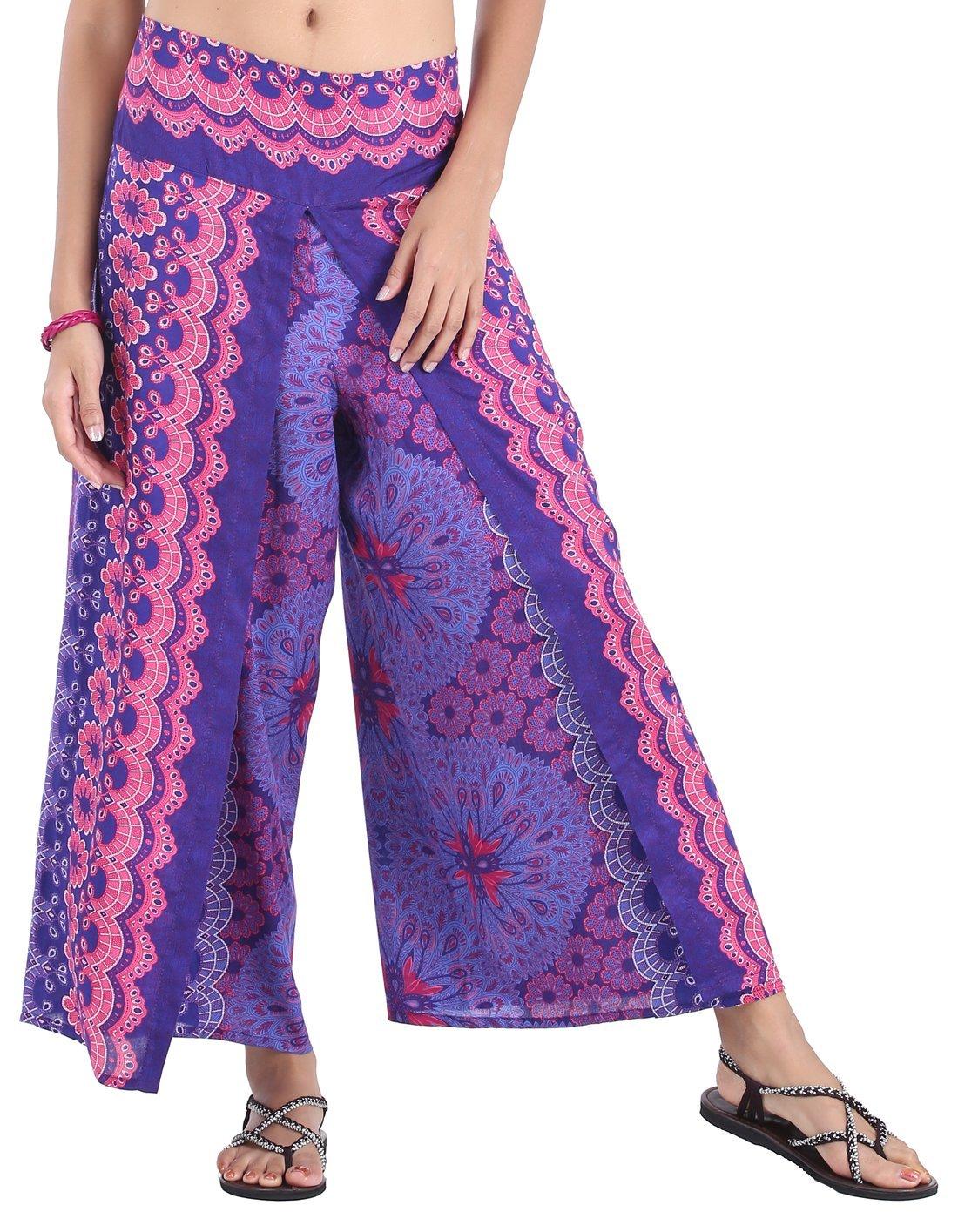 CandyHusky Women's Elastic Waist Bohemian Hippie Gypsy Harem Palazzo Print Pants (Peacock Mandala Purple)