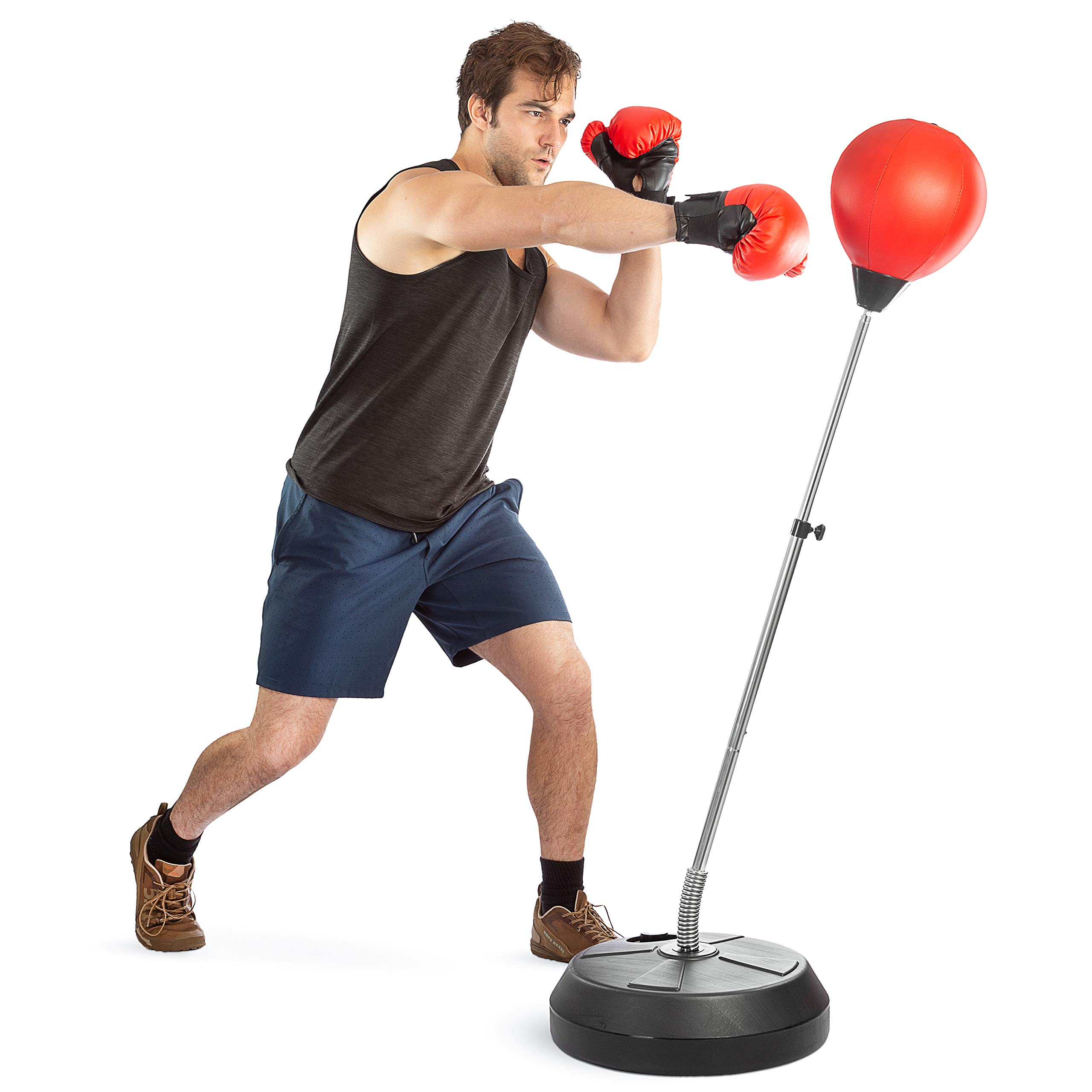 Tech Tools Boxing Ball Set with Punching Ball, Boxing Gloves, Hand Pump & Adjustable Height Stand - Strong Durable Spring Withstands Tough Hits for Stress Relief & Fitness (Adult)
