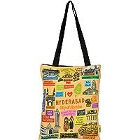 Eco Corner - I Love Hyderabad - Orange - Tote Bag - Small - 100% Cotton/Printed On Both Sides/Zip Closure