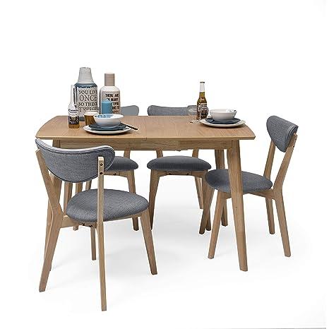 Homely - Conjunto de Comedor de diseño nórdico MELAKA Mesa Extensible Roble y 4 sillas tapizadas - Azul