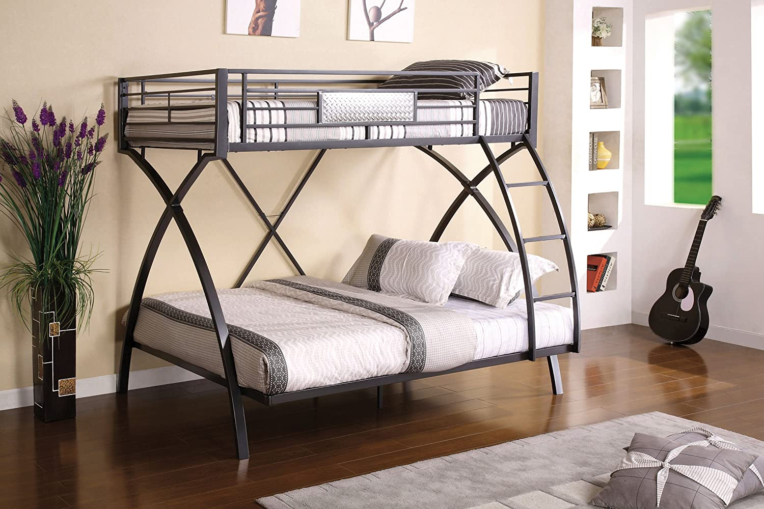 Amazon Furniture Of America Garrett Twin Over Full Bunk Bed Gunmetal And Chrome Finish Kitchen Dining
