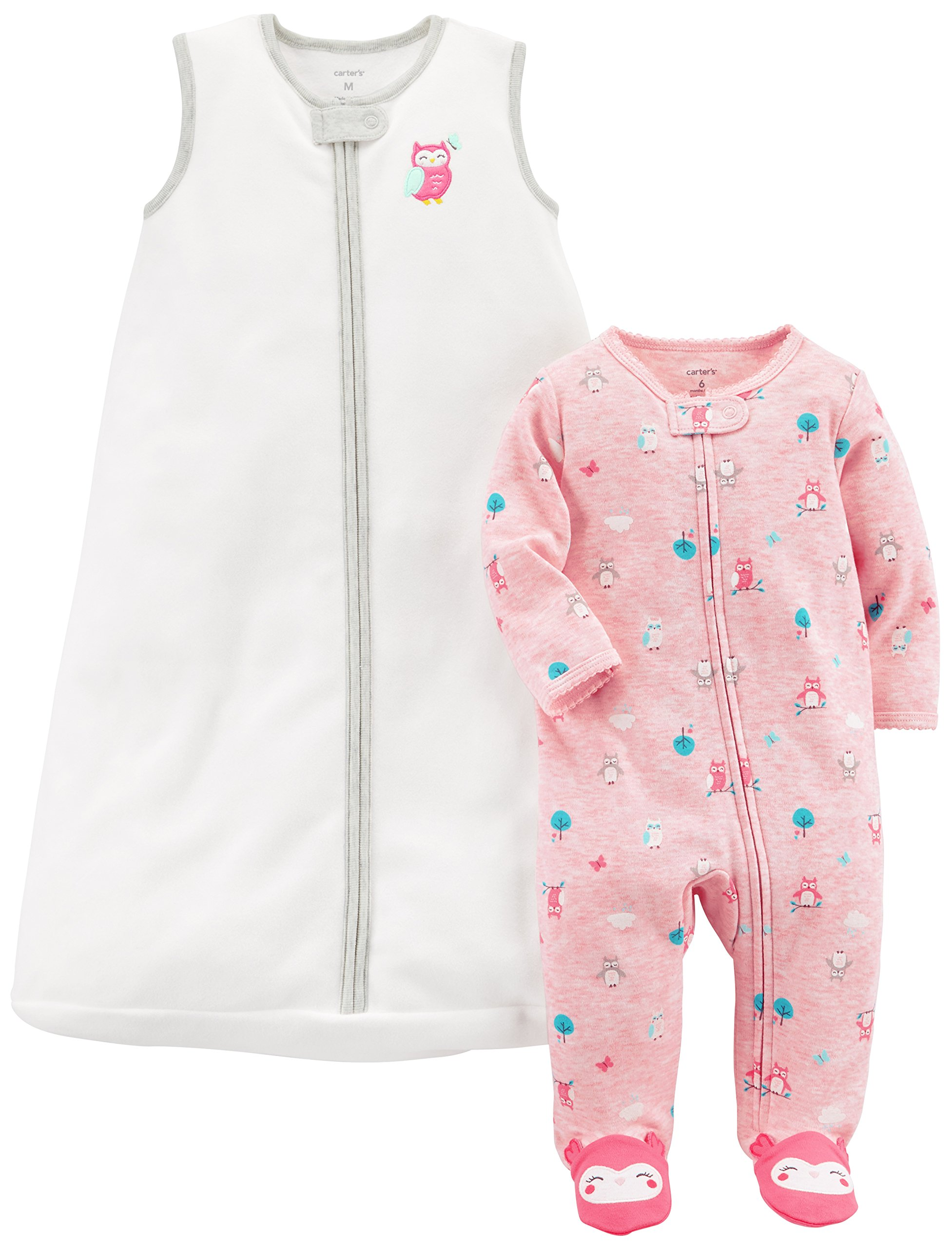 Carter's Baby Girls' 2-Pack Fleece Sleep and Play with Sleepbag, Pink Owl/White, 3 Months