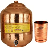 Taluka Handmade Copper Water Pot with 300 ml Glass (6000 ml)
