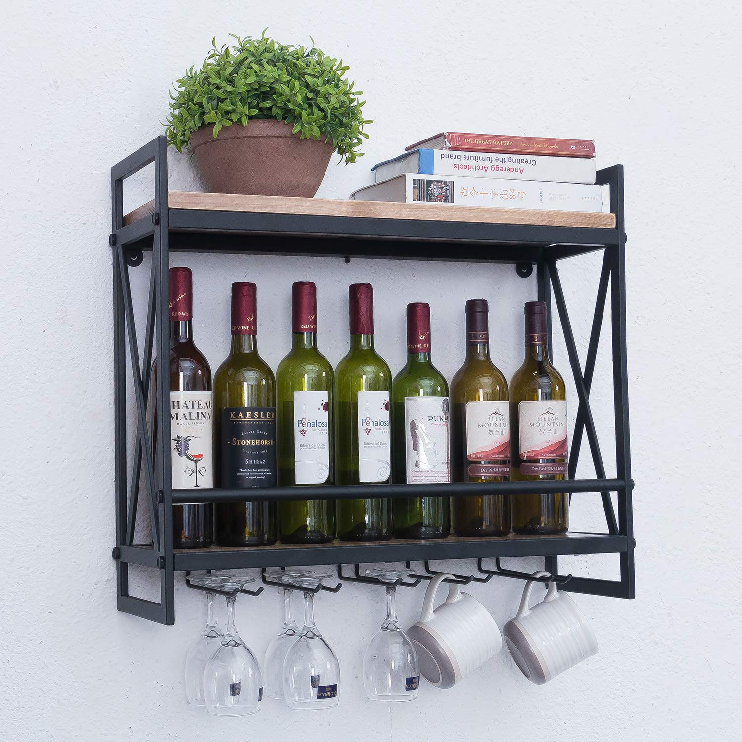 Rustic Wall Mounted Wine Racks with 5 Stem Glass Holder,23.6in Industrial Metal Hanging Wine Rack,2-Tiers Wood Shelf Floating Shelves,Home Room Living Room Kitchen Decor Display Rack