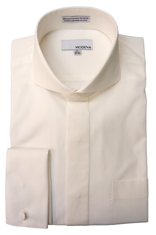 Modena Dress Shirts Men's Cutaway Collar French Cuff Dress Shirt M300CAFC-W-1553-pp