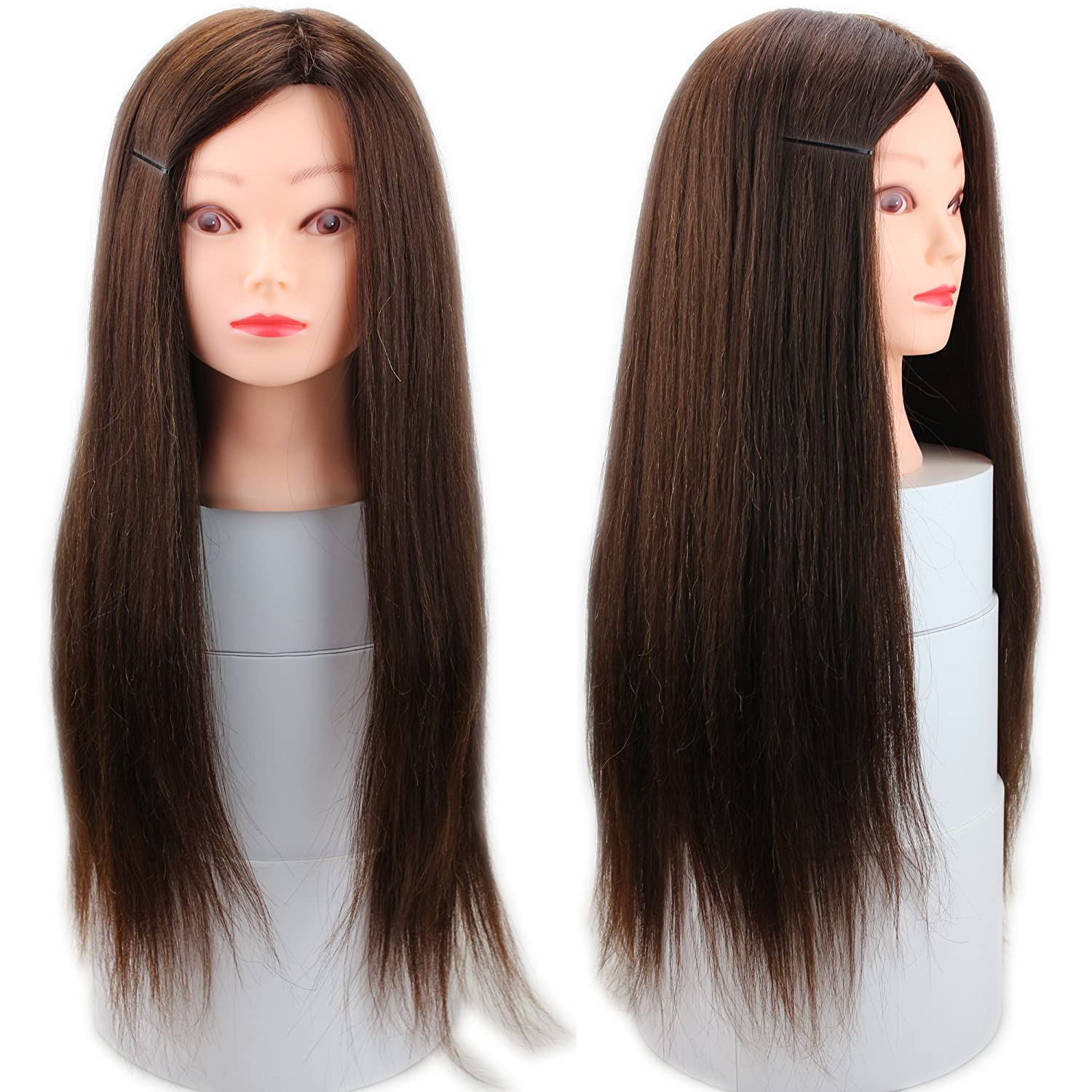 Dreambeauty Hairdressing Training Heads 50% Real Human Hair Mannequin Styling Dolls Head (Brown) Qingdao Feiyang Hair Co. Ltd