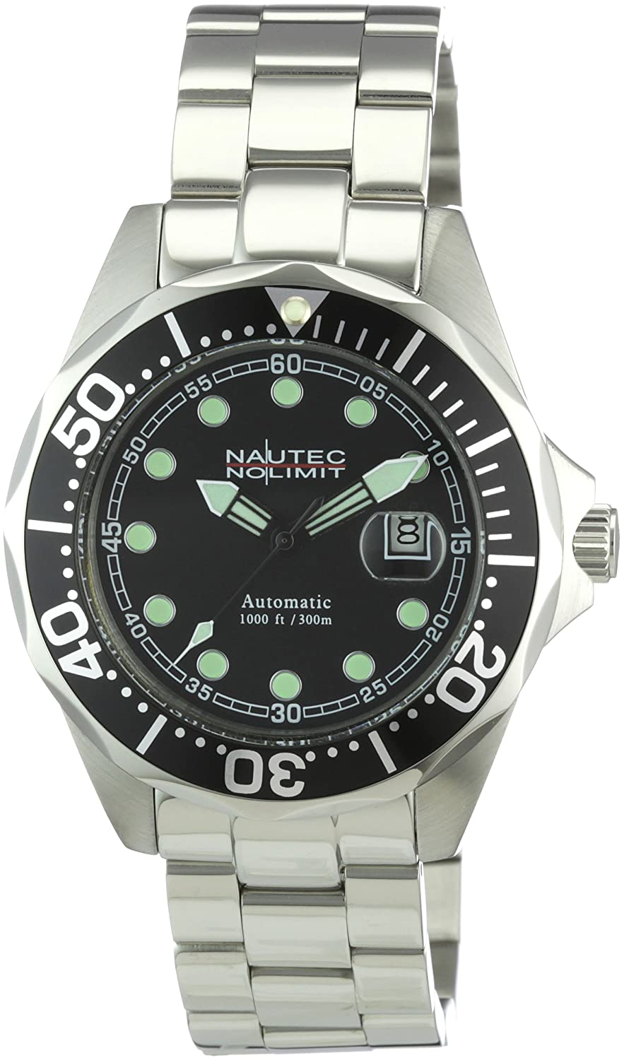 Nautec No Limit Herren-Armbanduhr Deep Sea Bravo Analog Automatik DSB AT-STSTBKBK